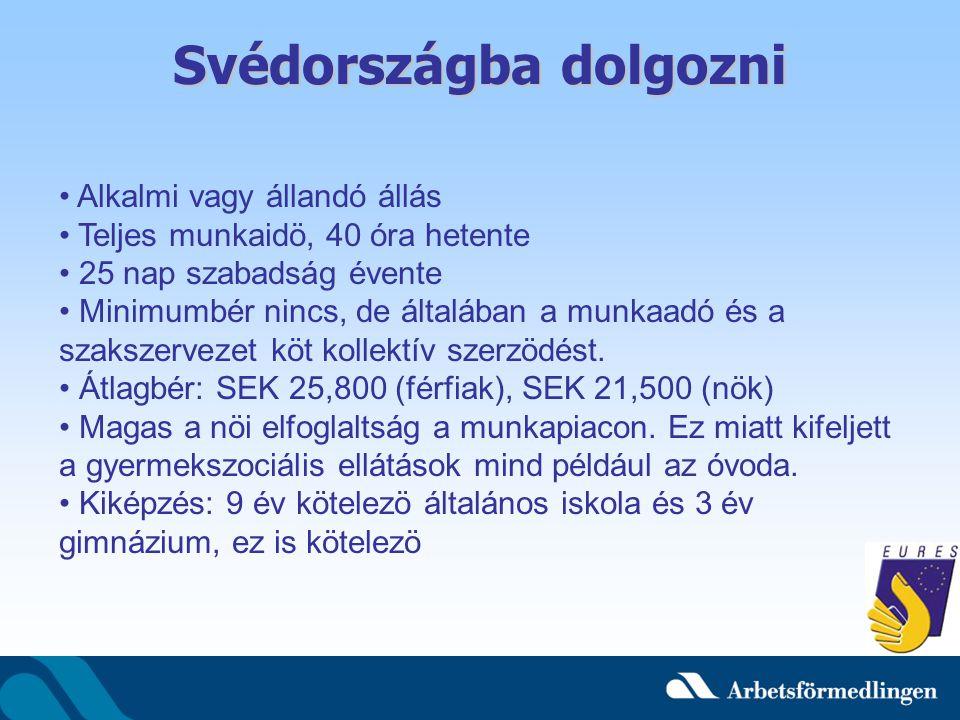A Tipikus Svéd Munkahely Lapos szervezet Követelés: Kezdeményezni tudni kell Svéd nyelv tudás Angol nyelv tudás Du – tegezés, keresztnév Szakszervezet a legtöbb munkahelyen, nagy átalakitások elött a munkaadó és a szakszervezet mindig megtárgyalja
