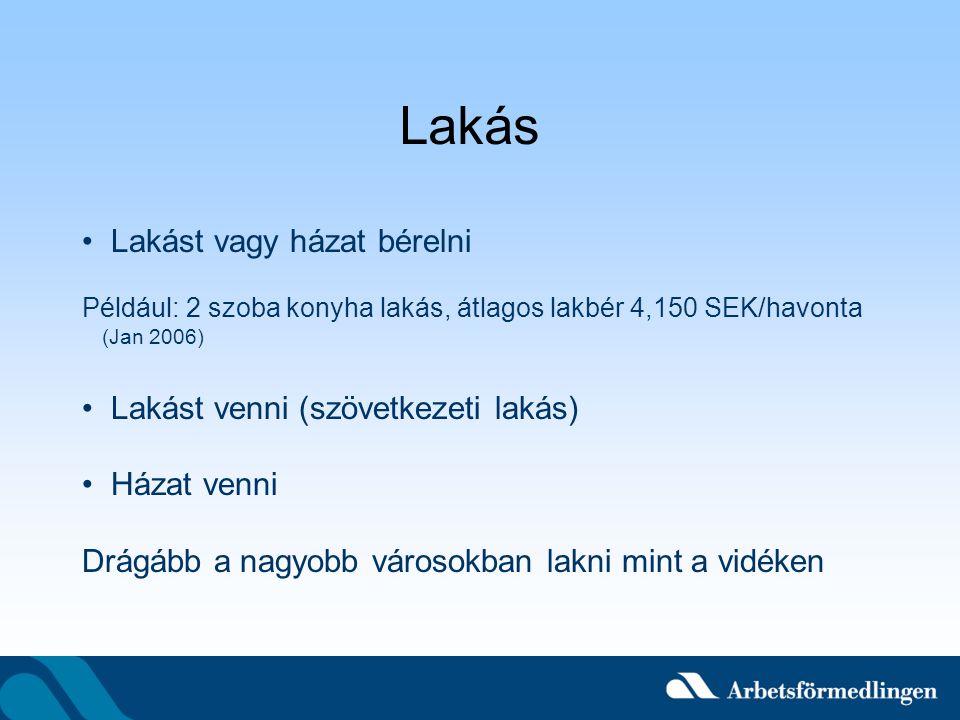 Lakás Lakást vagy házat bérelni Például: 2 szoba konyha lakás, átlagos lakbér 4,150 SEK/havonta (Jan 2006) Lakást venni (szövetkezeti lakás) Házat ven