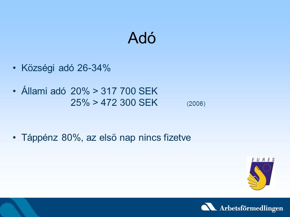 Adó Községi adó 26-34% Állami adó 20% > 317 700 SEK 25% > 472 300 SEK (2006) Táppénz 80%, az elsö nap nincs fizetve