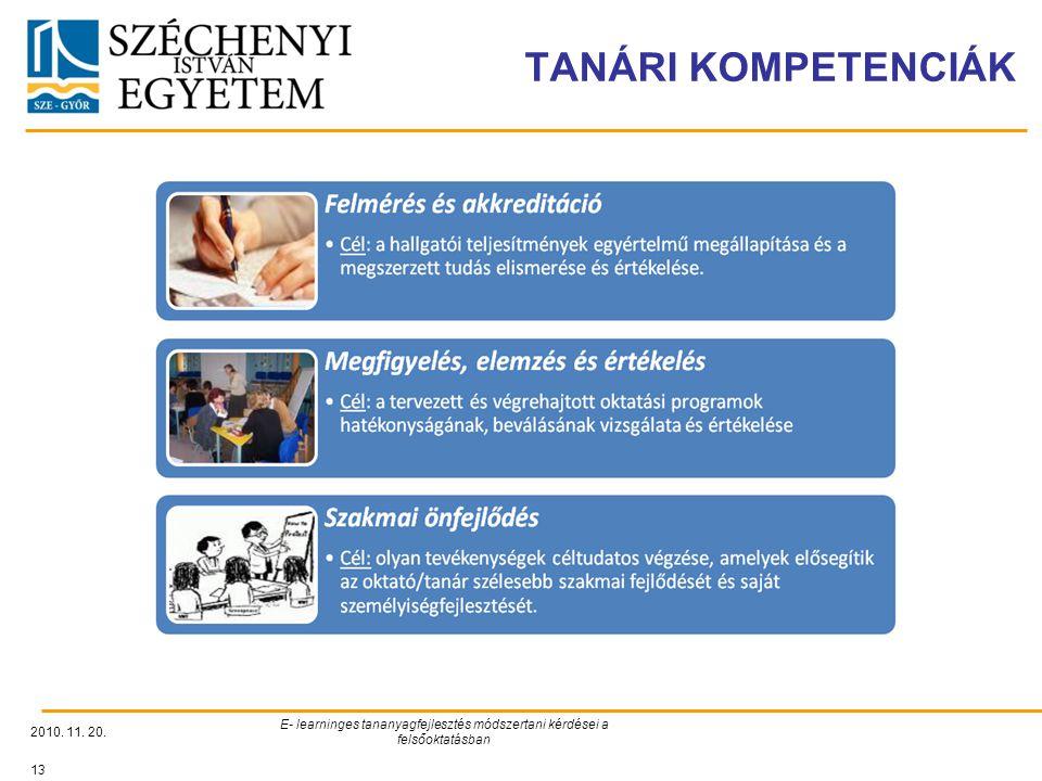 TANÁRI KOMPETENCIÁK 2010. 11. 20. E- learninges tananyagfejlesztés módszertani kérdései a felsőoktatásban 13