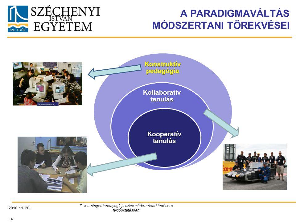 A PARADIGMAVÁLTÁS MÓDSZERTANI TÖREKVÉSEI 2010. 11. 20. E- learninges tananyagfejlesztés módszertani kérdései a felsőoktatásban 14 Konstruktív pedagógi