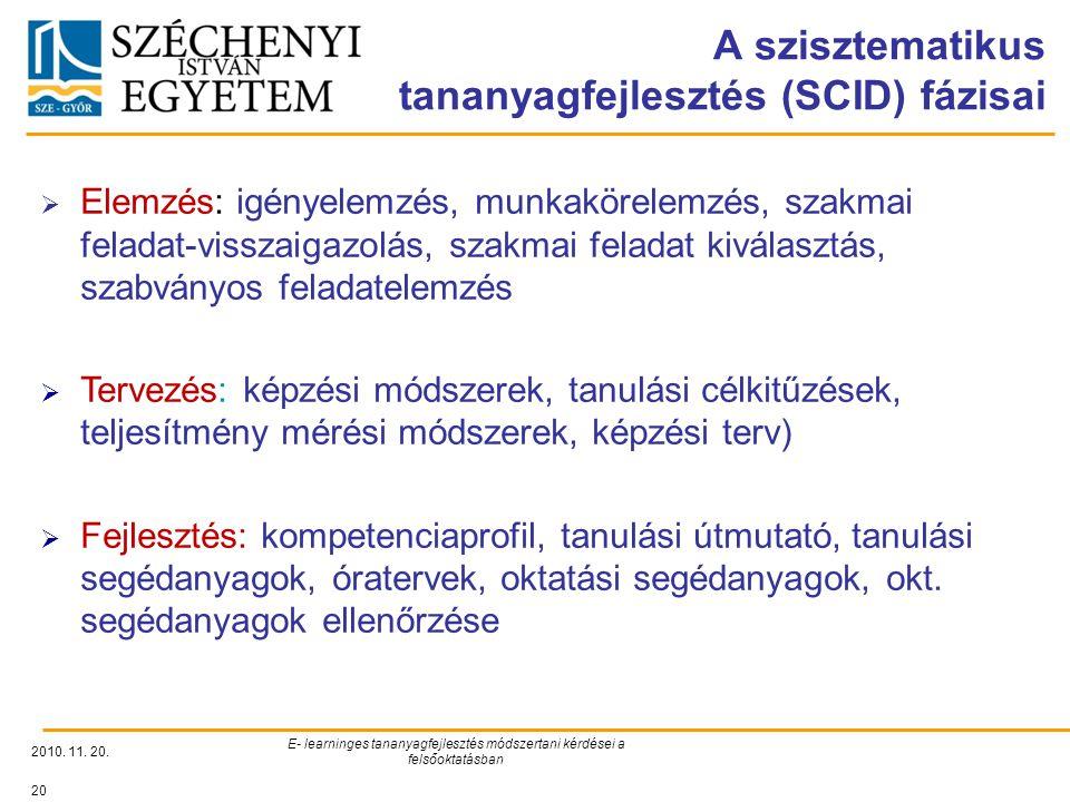 A szisztematikus tananyagfejlesztés (SCID) fázisai 2010.
