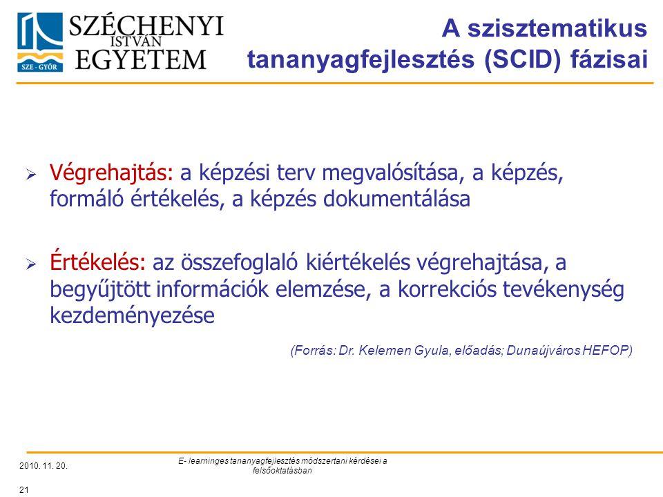 A szisztematikus tananyagfejlesztés (SCID) fázisai 2010. 11. 20. E- learninges tananyagfejlesztés módszertani kérdései a felsőoktatásban 21  Végrehaj