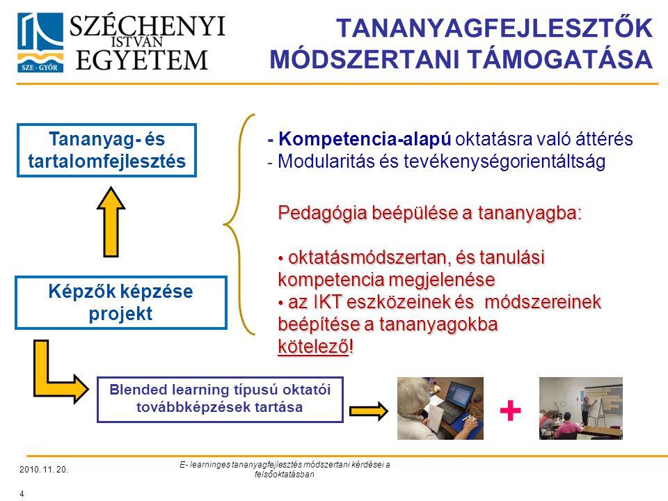 TANANYAGFEJLESZTŐK MÓDSZERTANI TÁMOGATÁSA 2010. 11. 20. E- learninges tananyagfejlesztés módszertani kérdései a felsőoktatásban 4 Tananyag- és tartalo