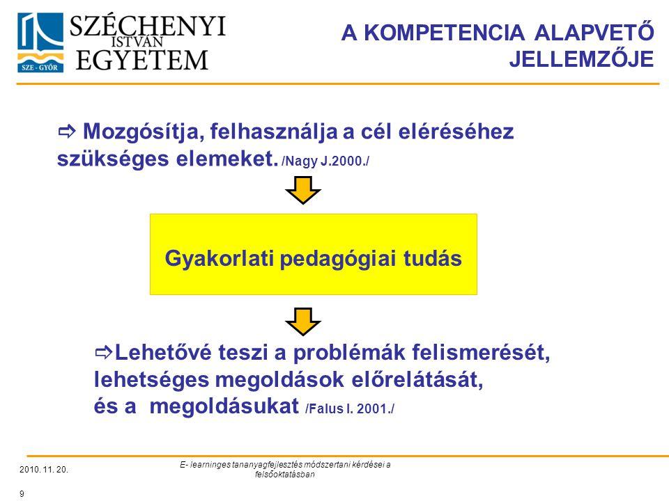 A KOMPETENCIA ALAPVETŐ JELLEMZŐJE 2010. 11. 20. E- learninges tananyagfejlesztés módszertani kérdései a felsőoktatásban 9  Mozgósítja, felhasználja a