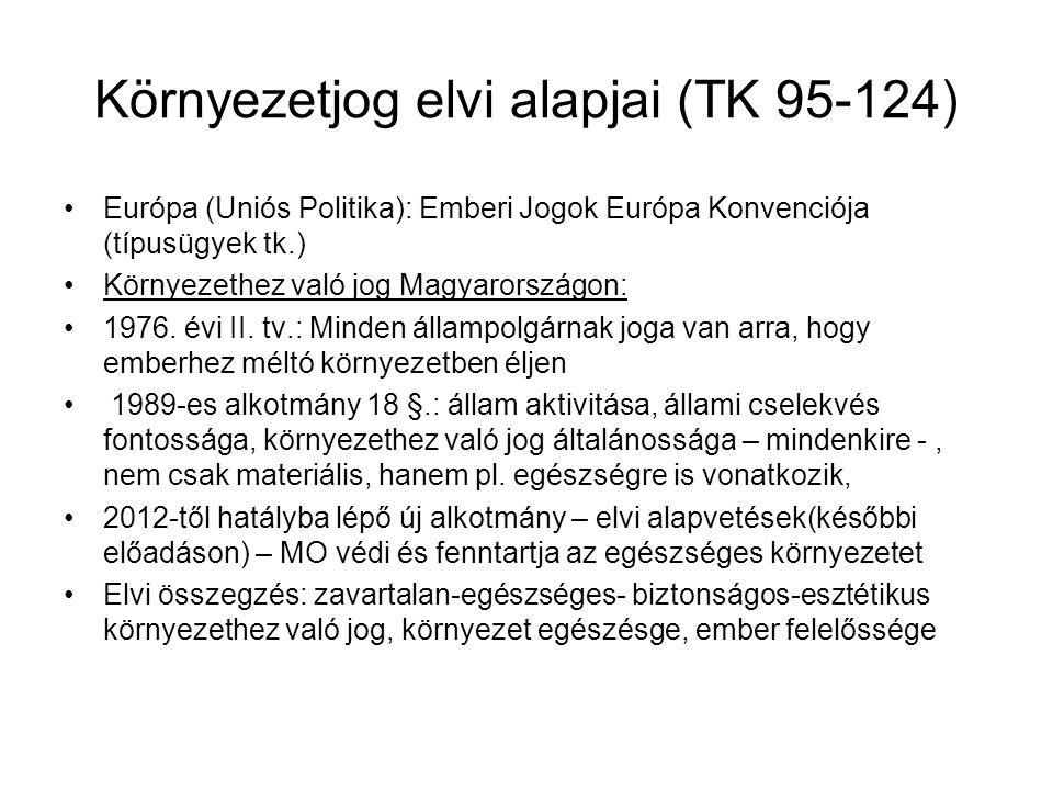 Környezetjog elvi alapjai (TK 95-124) Európa (Uniós Politika): Emberi Jogok Európa Konvenciója (típusügyek tk.) Környezethez való jog Magyarországon: