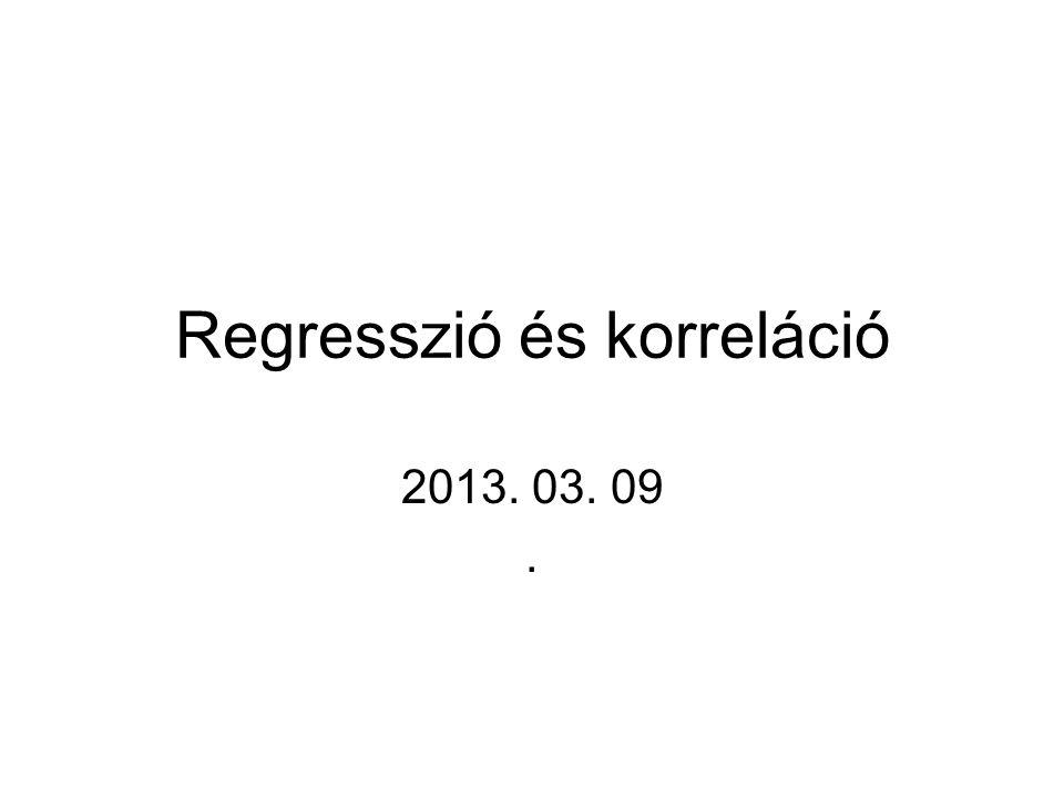 Lineáris regresszió Regressziós vizsgálatok Korrelációs együttható Korreláció és függetlenség