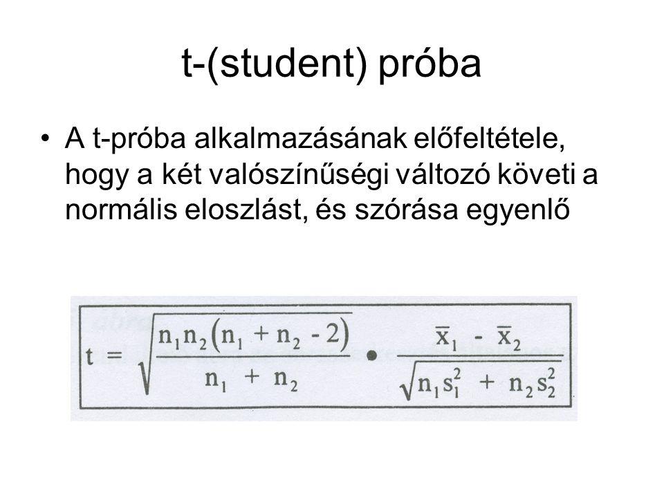 t-(student) próba A t-próba alkalmazásának előfeltétele, hogy a két valószínűségi változó követi a normális eloszlást, és szórása egyenlő