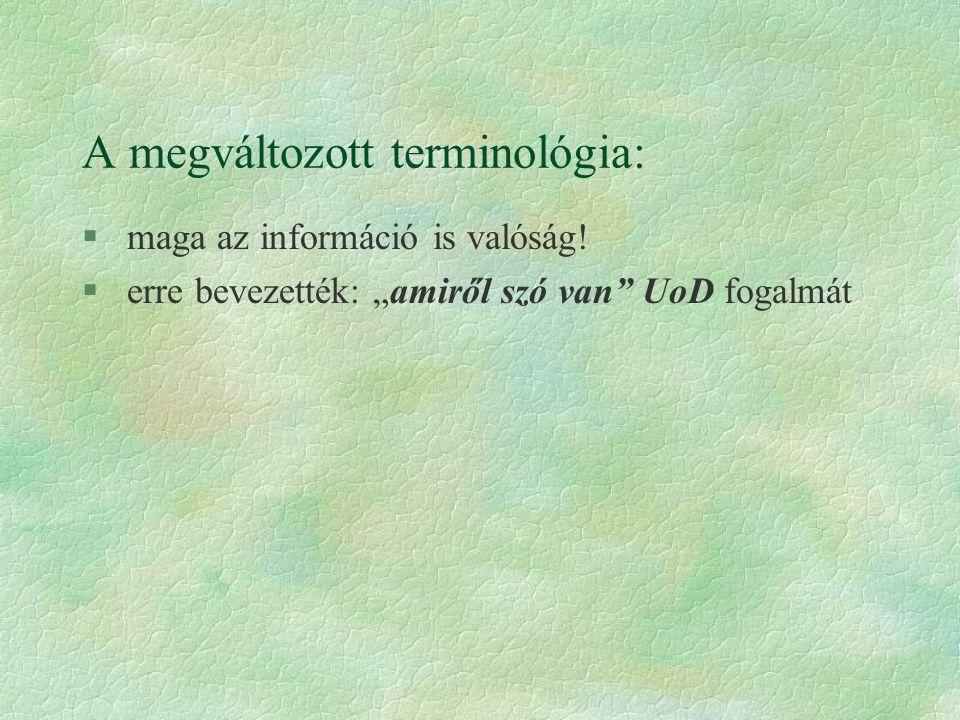 """A megváltozott terminológia: § maga az információ is valóság! § erre bevezették: """"amiről szó van"""" UoD fogalmát"""
