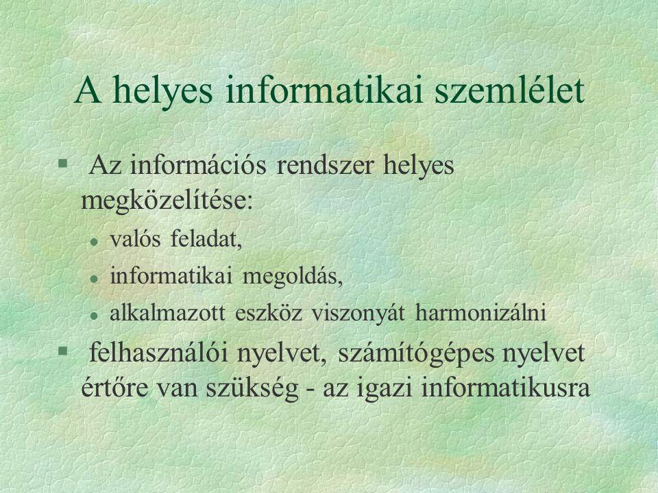 A helyes informatikai szemlélet § Az információs rendszer helyes megközelítése: l valós feladat, l informatikai megoldás, l alkalmazott eszköz viszony