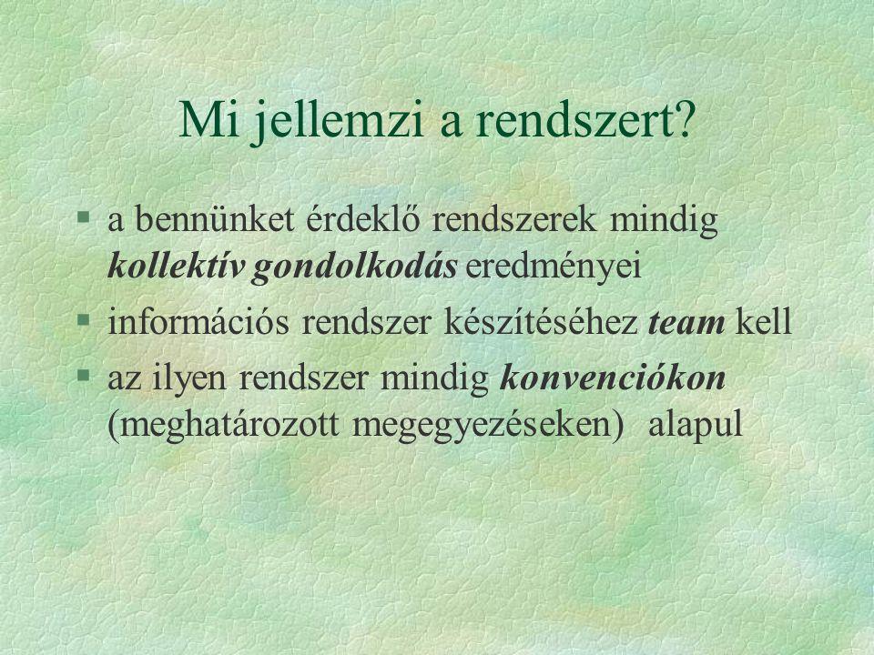 A helyes informatikai szemlélet §A valódi informatikus három dolog egységében gondolkodik: §Valóság (valós rendszer, VR) §Ismereti kép (információs rendszer, IR) §Technikai erőforrások (eszközrendszer ER)