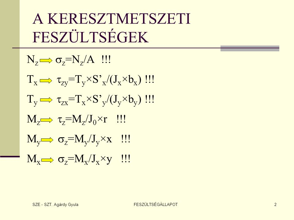 SZE - SZT. Agárdy Gyula FESZÜLTSÉGÁLLAPOT2 N z  z =N z /A !!! T x  zy =T y ×S' x /(J x ×b x ) !!! T y  zx =T x ×S' y /(J y ×b y ) !!! M z  z =M z