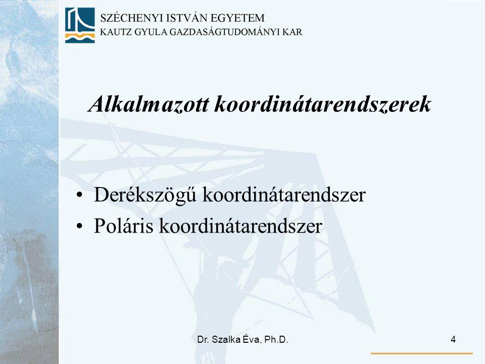 Dr. Szalka Éva, Ph.D.4 Alkalmazott koordinátarendszerek Derékszögű koordinátarendszer Poláris koordinátarendszer