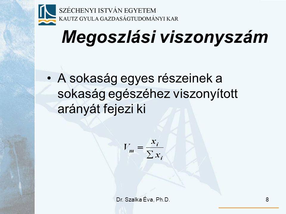 Dr. Szalka Éva, Ph.D.8 Megoszlási viszonyszám A sokaság egyes részeinek a sokaság egészéhez viszonyított arányát fejezi ki