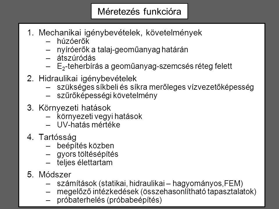 Méretezés funkcióra 1.Mechanikai igénybevételek, követelmények –húzóerők –nyíróerők a talaj-geoműanyag határán –átszúródás –E 2 -teherbírás a geoműany