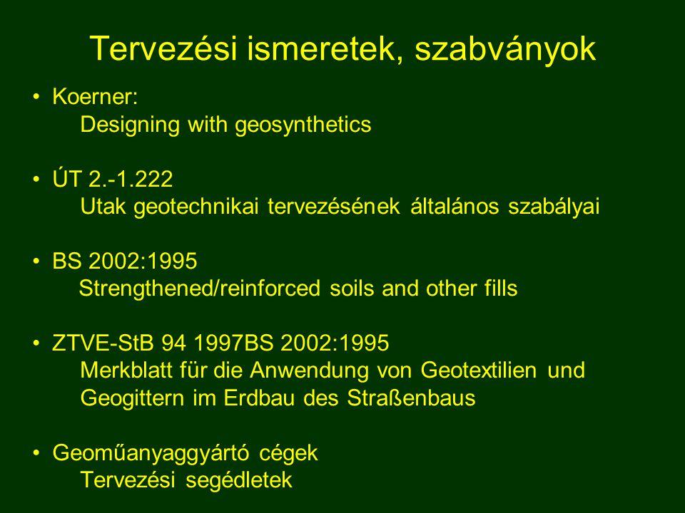 Tervezési ismeretek, szabványok Koerner: Designing with geosynthetics ÚT 2.-1.222 Utak geotechnikai tervezésének általános szabályai BS 2002:1995 Stre