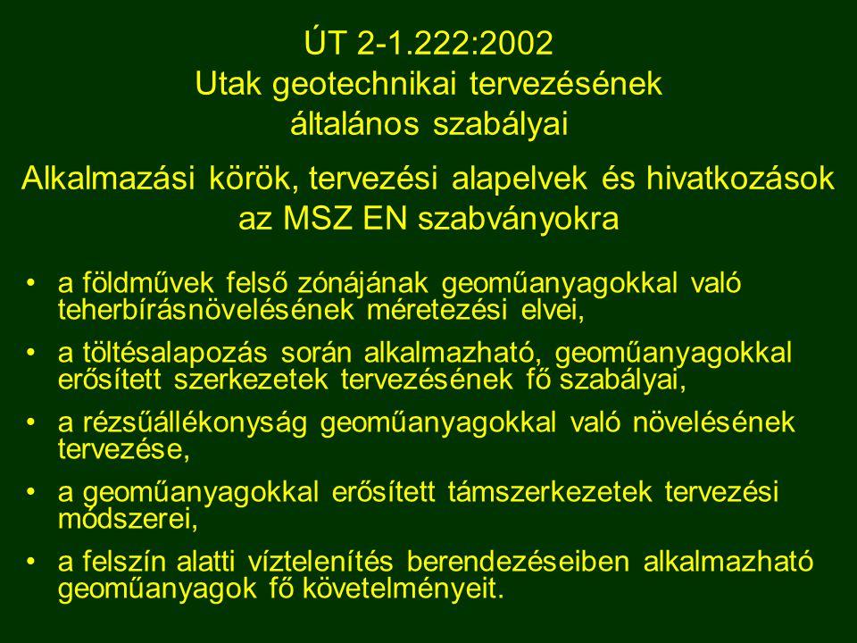 ÚT 2-1.222:2002 Utak geotechnikai tervezésének általános szabályai Alkalmazási körök, tervezési alapelvek és hivatkozások az MSZ EN szabványokra a föl