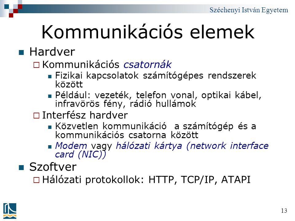 Széchenyi István Egyetem 13 Kommunikációs elemek Hardver  Kommunikációs csatornák Fizikai kapcsolatok számítógépes rendszerek között Például: vezeték
