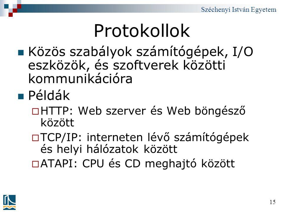 Széchenyi István Egyetem 15 Protokollok Közös szabályok számítógépek, I/O eszközök, és szoftverek közötti kommunikációra Példák  HTTP: Web szerver és