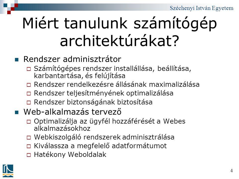 Széchenyi István Egyetem 4 Miért tanulunk számítógép architektúrákat? Rendszer adminisztrátor  Számítógépes rendszer installállása, beállítása, karba