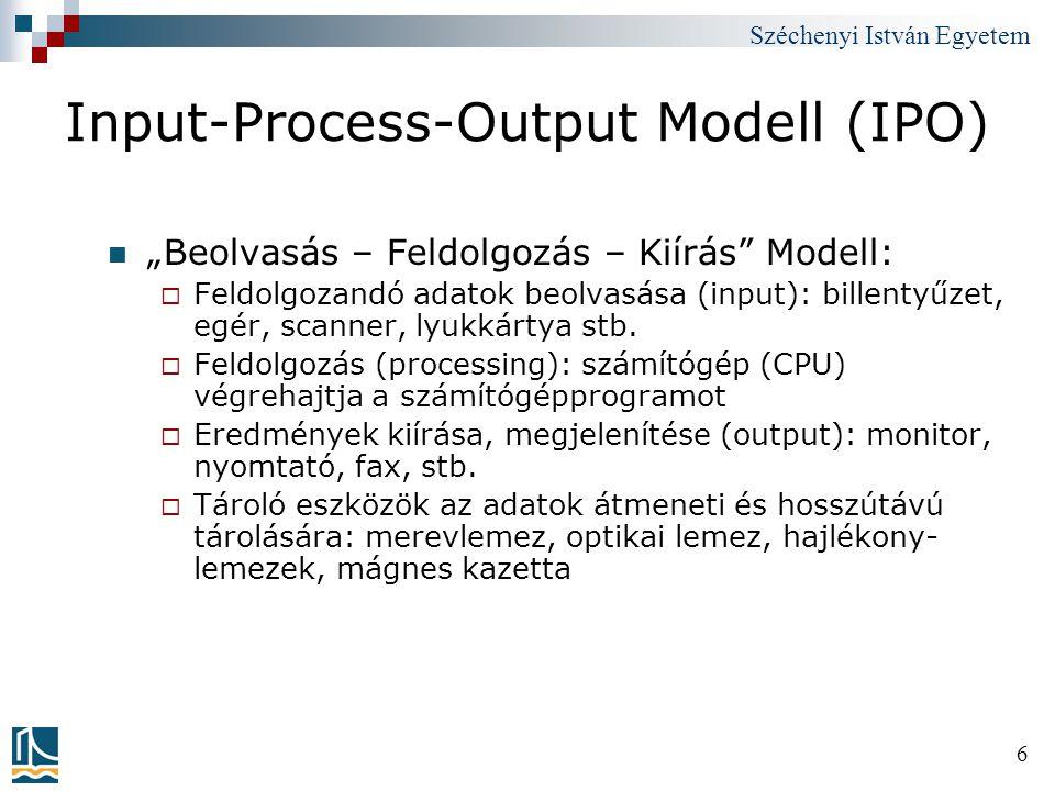 """Széchenyi István Egyetem 6 Input-Process-Output Modell (IPO) """"Beolvasás – Feldolgozás – Kiírás"""" Modell:  Feldolgozandó adatok beolvasása (input): bil"""
