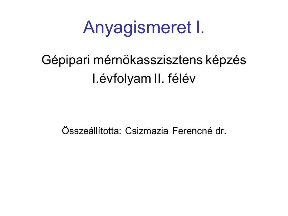 Anyagismeret I. Gépipari mérnökasszisztens képzés I.évfolyam II. félév Összeállította: Csizmazia Ferencné dr.