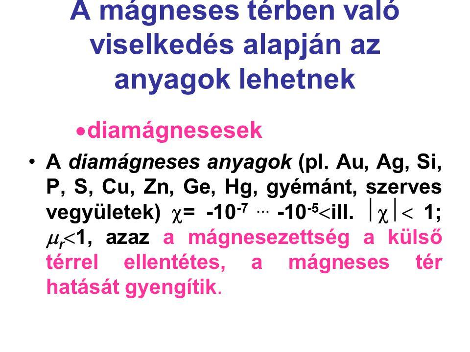 A mágneses térben való viselkedés alapján az anyagok lehetnek  diamágnesesek A diamágneses anyagok (pl. Au, Ag, Si, P, S, Cu, Zn, Ge, Hg, gyémánt, sz