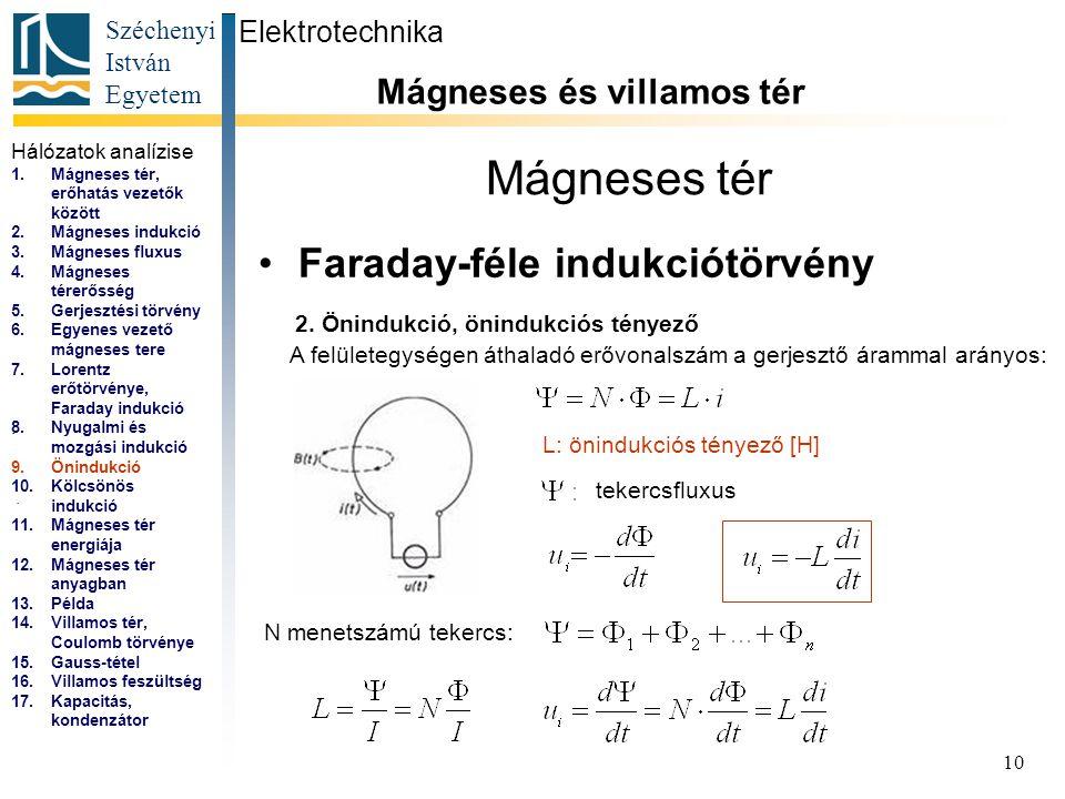 Széchenyi István Egyetem 10 Mágneses tér Faraday-féle indukciótörvény Elektrotechnika Mágneses és villamos tér... A felületegységen áthaladó erővonals
