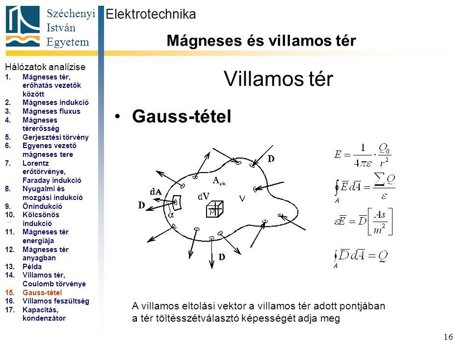 Széchenyi István Egyetem 16 Villamos tér Gauss-tétel Elektrotechnika Mágneses és villamos tér... A villamos eltolási vektor a villamos tér adott pontj