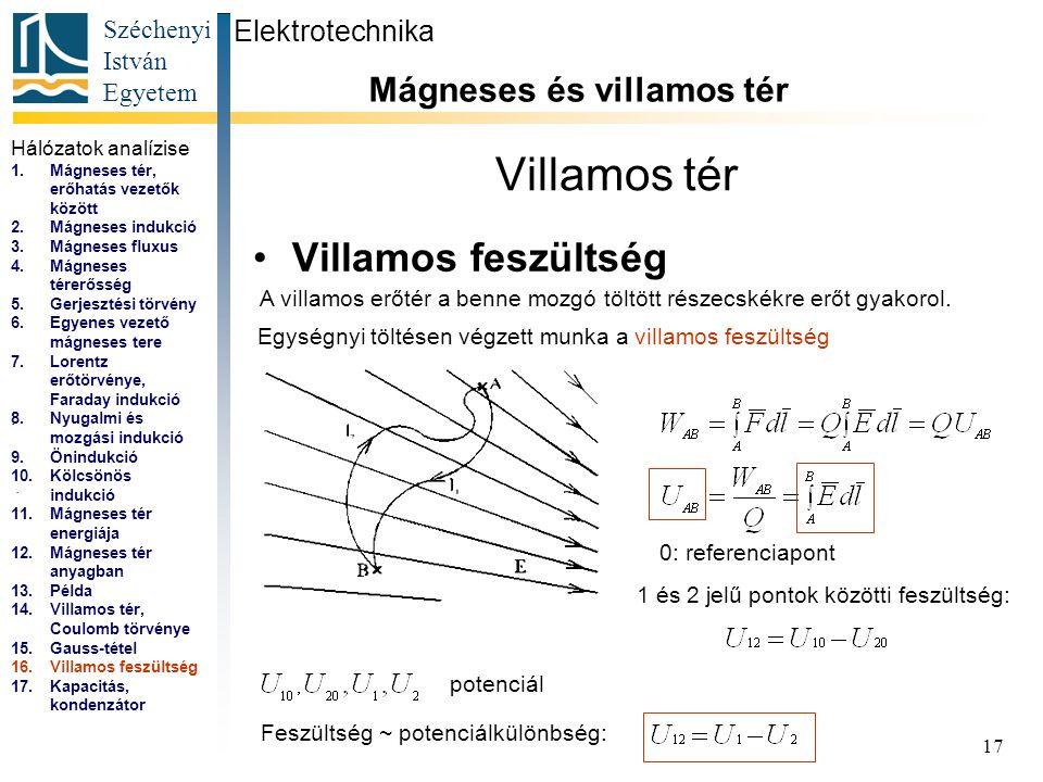Széchenyi István Egyetem 17 Villamos tér Villamos feszültség Elektrotechnika Mágneses és villamos tér...