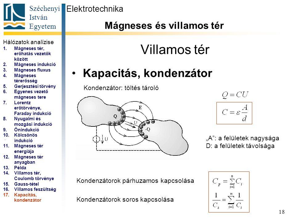 """Széchenyi István Egyetem 18 Villamos tér Kapacitás, kondenzátor Elektrotechnika Mágneses és villamos tér... """"A"""": a felületek nagysága D: a felületek t"""