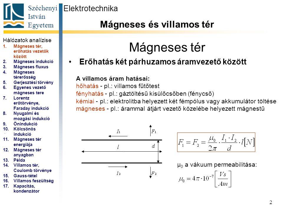 Széchenyi István Egyetem 2 Mágneses tér Erőhatás két párhuzamos áramvezető között Elektrotechnika Mágneses és villamos tér.