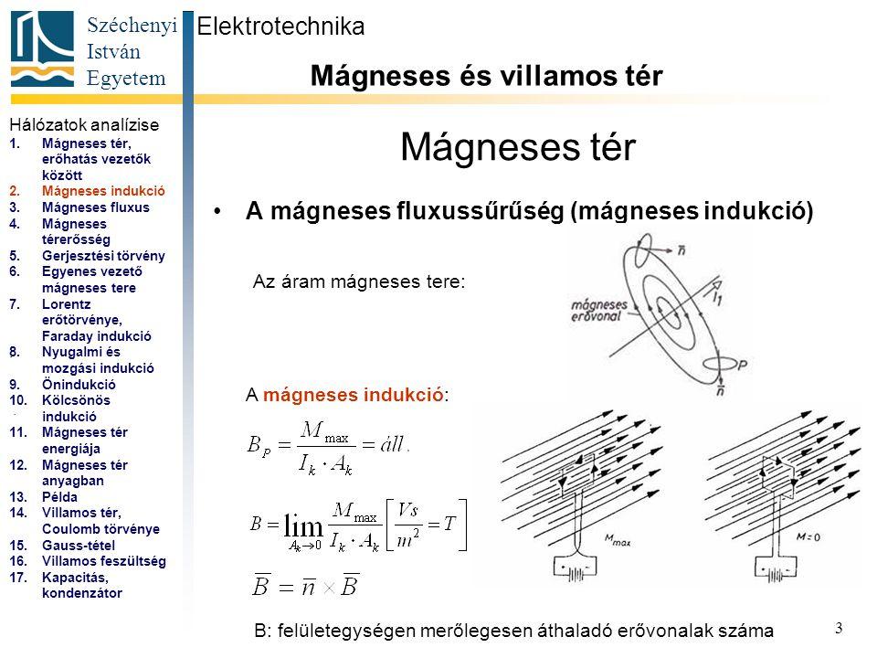 Széchenyi István Egyetem 3 Mágneses tér A mágneses fluxussűrűség (mágneses indukció) Elektrotechnika Mágneses és villamos tér... Az áram mágneses tere