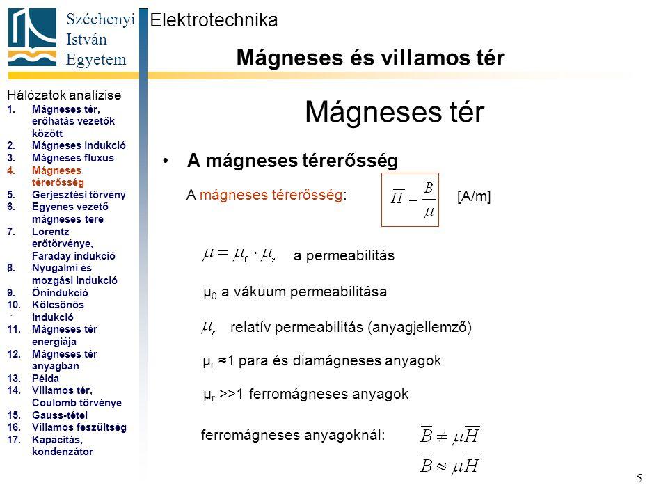 Széchenyi István Egyetem 5 Mágneses tér A mágneses térerősség Elektrotechnika Mágneses és villamos tér... A mágneses térerősség: [A/m] a permeabilitás