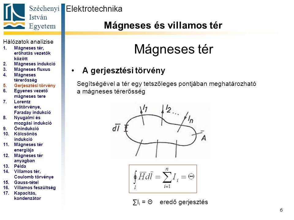 Széchenyi István Egyetem 7 Mágneses tér A végtelen hosszú egyenes vezető mágnese tere Elektrotechnika Mágneses és villamos tér...