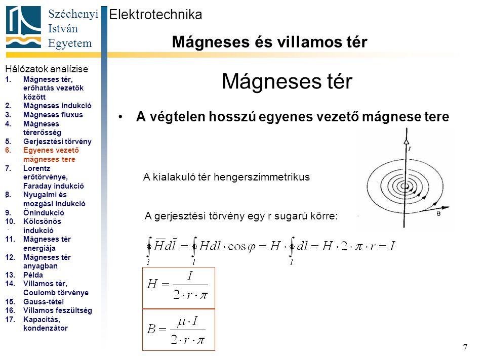 Széchenyi István Egyetem 7 Mágneses tér A végtelen hosszú egyenes vezető mágnese tere Elektrotechnika Mágneses és villamos tér... A kialakuló tér heng