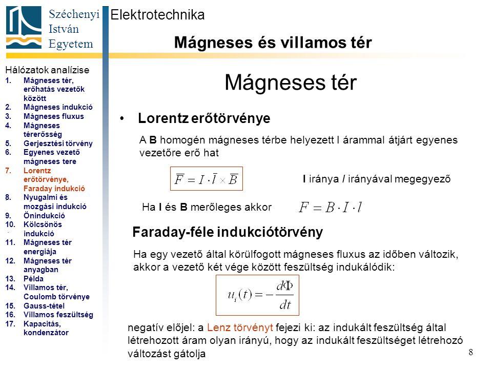 Széchenyi István Egyetem 8 Mágneses tér Lorentz erőtörvénye Elektrotechnika Mágneses és villamos tér... A B homogén mágneses térbe helyezett I árammal