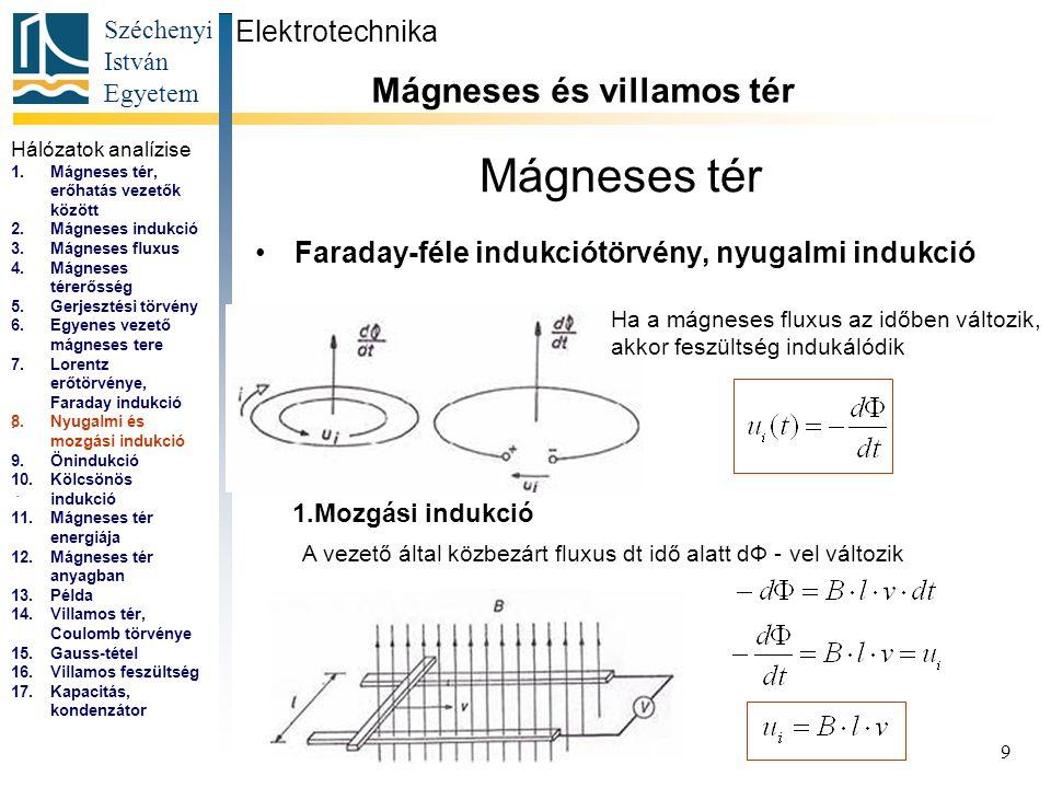 Széchenyi István Egyetem 9 Mágneses tér Faraday-féle indukciótörvény, nyugalmi indukció Elektrotechnika Mágneses és villamos tér... 1.Mozgási indukció