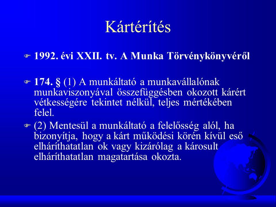 Kártérítés F 1992. évi XXII. tv. A Munka Törvénykönyvéről F 174. § (1) A munkáltató a munkavállalónak munkaviszonyával összefüggésben okozott kárért v