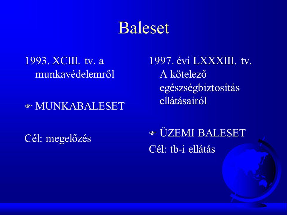 Baleset 1993. XCIII. tv. a munkavédelemről F MUNKABALESET Cél: megelőzés 1997. évi LXXXIII. tv. A kötelező egészségbiztosítás ellátásairól F ÜZEMI BAL