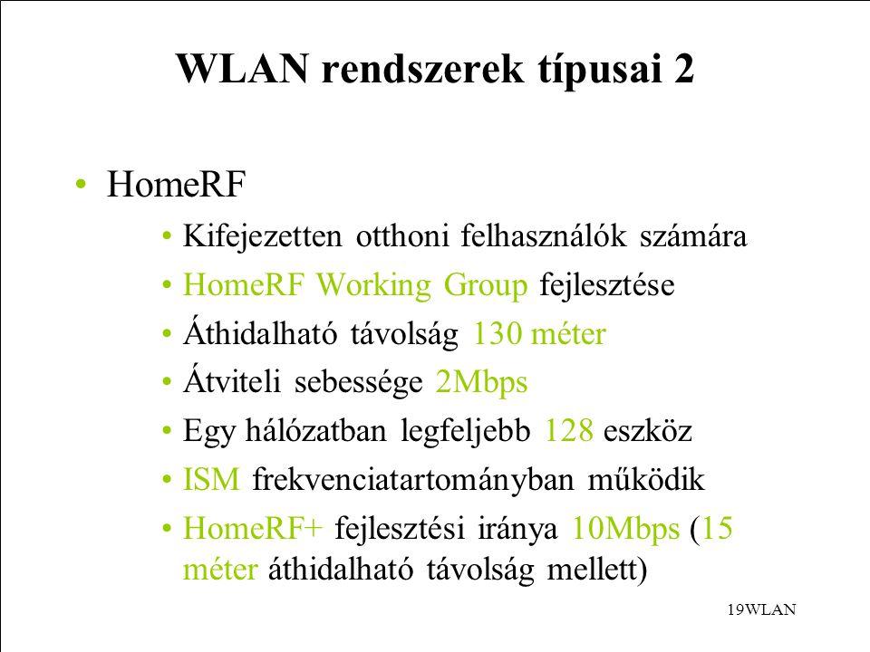 19WLAN WLAN rendszerek típusai 2 HomeRF Kifejezetten otthoni felhasználók számára HomeRF Working Group fejlesztése Áthidalható távolság 130 méter Átviteli sebessége 2Mbps Egy hálózatban legfeljebb 128 eszköz ISM frekvenciatartományban működik HomeRF+ fejlesztési iránya 10Mbps (15 méter áthidalható távolság mellett)