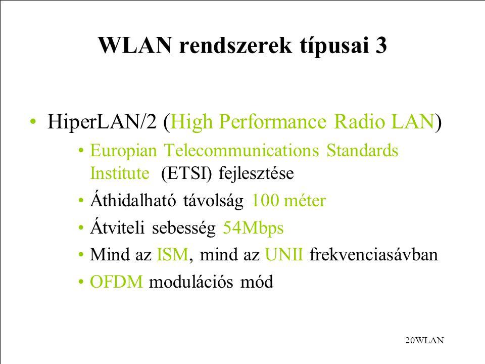 20WLAN WLAN rendszerek típusai 3 HiperLAN/2 (High Performance Radio LAN) Europian Telecommunications Standards Institute (ETSI) fejlesztése Áthidalható távolság 100 méter Átviteli sebesség 54Mbps Mind az ISM, mind az UNII frekvenciasávban OFDM modulációs mód