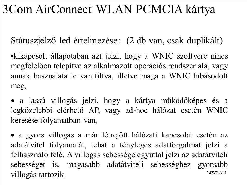 24WLAN 3Com AirConnect WLAN PCMCIA kártya Státuszjelző led értelmezése: (2 db van, csak duplikált) kikapcsolt állapotában azt jelzi, hogy a WNIC szoftvere nincs megfelelően telepítve az alkalmazott operációs rendszer alá, vagy annak használata le van tiltva, illetve maga a WNIC hibásodott meg,  a lassú villogás jelzi, hogy a kártya működőképes és a legközelebbi elérhető AP, vagy ad-hoc hálózat esetén WNIC keresése folyamatban van,  a gyors villogás a már létrejött hálózati kapcsolat esetén az adatátvitel folyamatát, tehát a tényleges adatforgalmat jelzi a felhasználó felé.