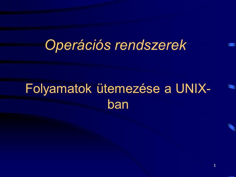 1 Folyamatok ütemezése a UNIX- ban Operációs rendszerek