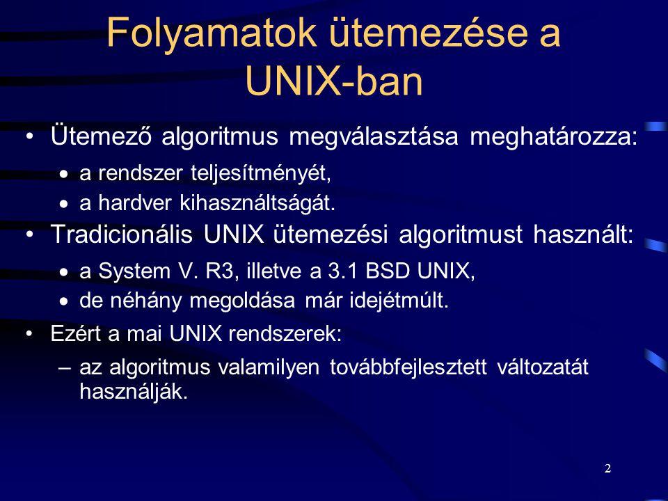 2 Folyamatok ütemezése a UNIX-ban Ütemező algoritmus megválasztása meghatározza:  a rendszer teljesítményét,  a hardver kihasználtságát.