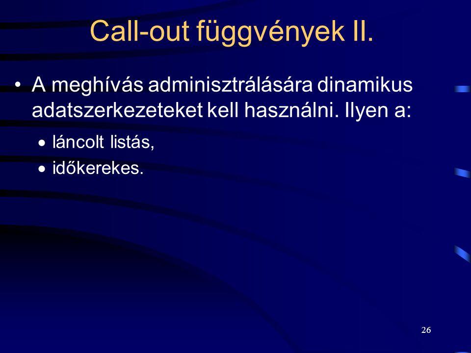 26 Call-out függvények II.A meghívás adminisztrálására dinamikus adatszerkezeteket kell használni.