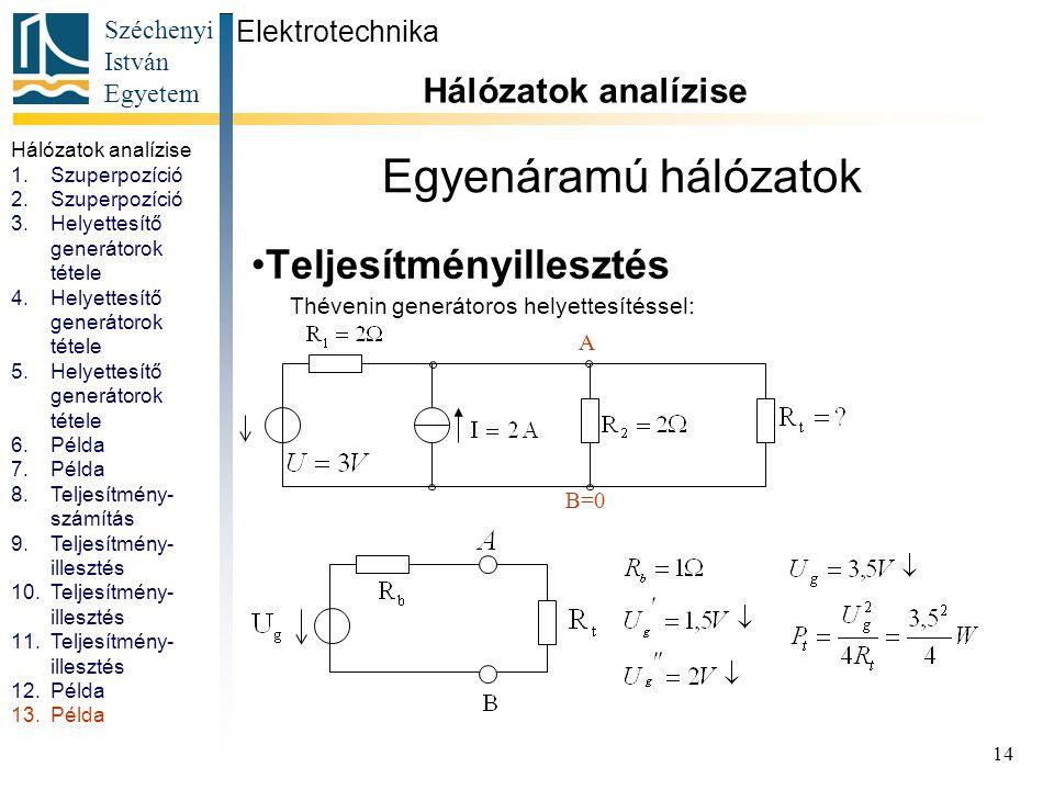 Széchenyi István Egyetem 14 Egyenáramú hálózatok Teljesítményillesztés Elektrotechnika Hálózatok analízise. 1.Szuperpozíció 2.Szuperpozíció 3.Helyette