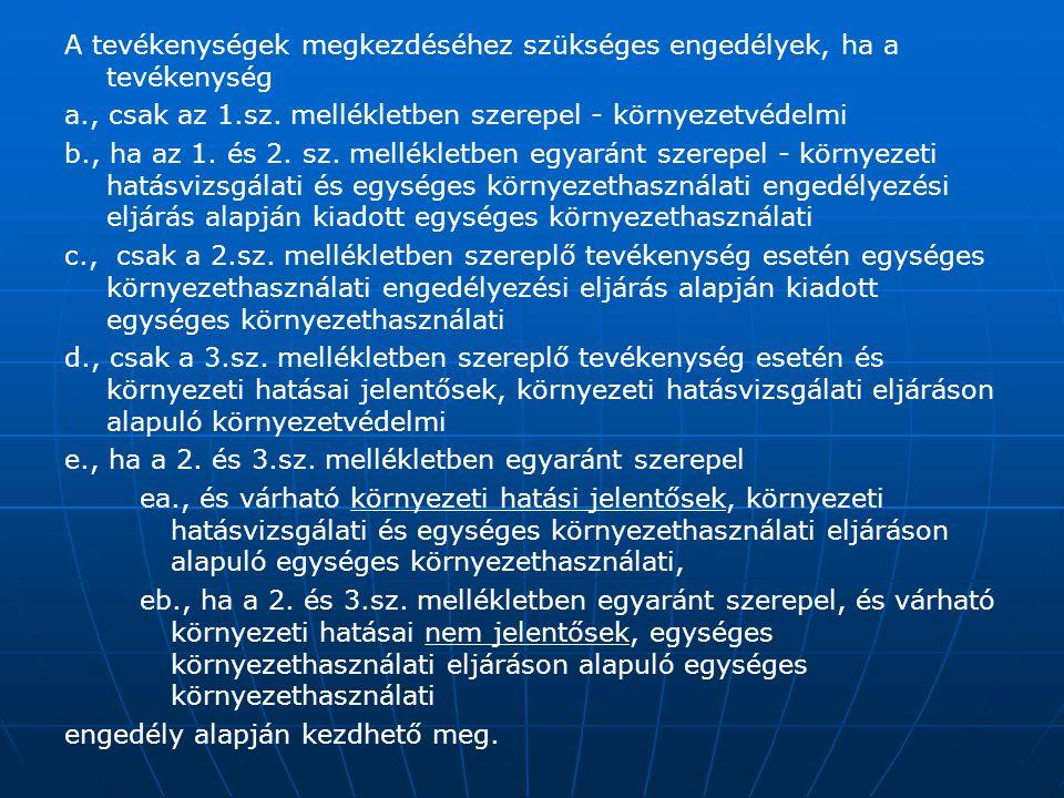 A tevékenységek megkezdéséhez szükséges engedélyek, ha a tevékenység a., csak az 1.sz. mellékletben szerepel - környezetvédelmi b., ha az 1. és 2. sz.