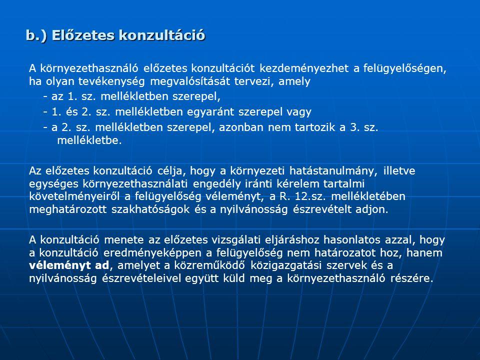 b.) Előzetes konzultáció A környezethasználó előzetes konzultációt kezdeményezhet a felügyelőségen, ha olyan tevékenység megvalósítását tervezi, amely