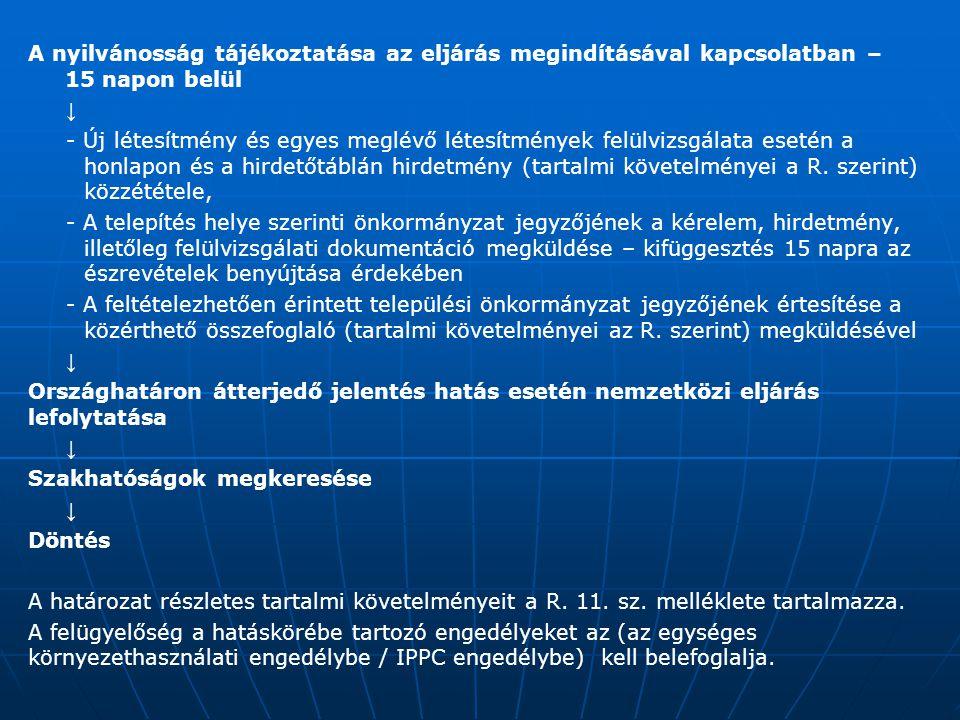 A nyilvánosság tájékoztatása az eljárás megindításával kapcsolatban – 15 napon belül ↓ - Új létesítmény és egyes meglévő létesítmények felülvizsgálata esetén a honlapon és a hirdetőtáblán hirdetmény (tartalmi követelményei a R.